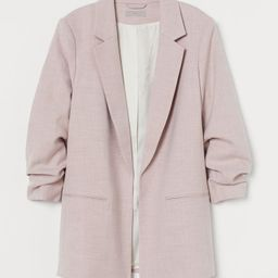 Straight-cut jacket in woven fabric with notched lapels, welt front pockets, and 3/4-length sleev... | H&M (US)
