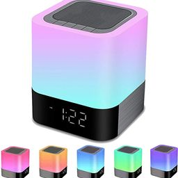 Bluetooth Speaker Night Lights, Alarm Clock Bluetooth Speaker MP3 Player, Touch Control Bedside l... | Amazon (US)