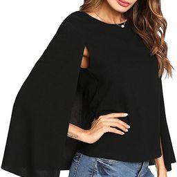 Romwe Women's Elegant Cape Cloak Sleeve Round Neck Party Top Blouse | Amazon (US)