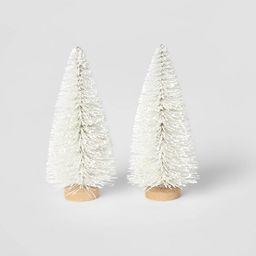 2pk Bottle Brush Christmas Tree Set Decorative Figurine White - Wondershop™ | Target
