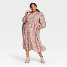 Women's Plus Size Floral Print Long Sleeve Dress - Universal Thread Pink 4X | Target