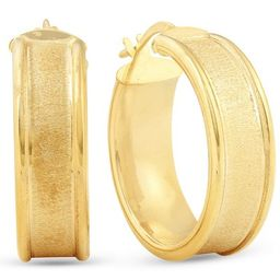 Pompeii3 14K Yellow Gold Classic Brushed and Polished 14mm Womens Hoops Earrings | Target