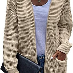 Hibluco Women's Open Front Knit Sweater Casual Long Sleeve Knit Classic Sweaters Cardigan with Po... | Amazon (US)