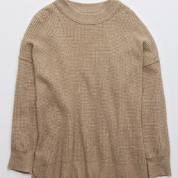 Aerie Waffle Oversized Crew Sweater   American Eagle Outfitters (US & CA)