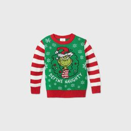 Toddler Boys' The Grinch Define Naughty Ugly Christmas Sweater - Green | Target