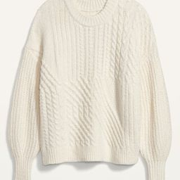 Cozy Cable-Knit Blouson-Sleeve Sweater for Women   Old Navy (US)