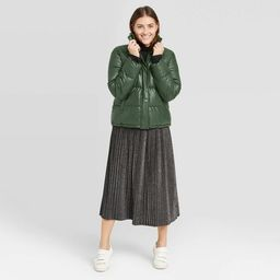 Women's Leather Puffer Jacket - A New Day™ Green   Target