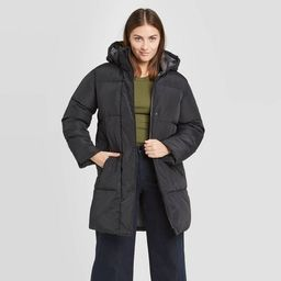 Women's Plaid Long Quilted Puffer Jacket - A New Day™   Target