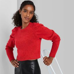 Women's Puff Sleeve Crewneck Pullover Sweater - Wild Fable™ | Target