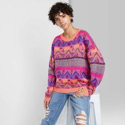 Women's Fair Isle Crewneck Oversized Pullover Sweater - Wild Fable™ | Target