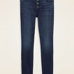 Mid-Rise Button-Fly Rockstar Super Skinny Cut-Off Ankle Jeans for Women | Old Navy (US)