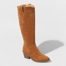 Women's Barb Microsuede Tall Western Boots - Universal Thread™ Cognac | Target