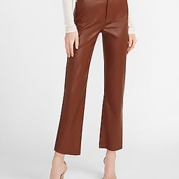 Super High Waisted Vegan Leather Cropped Straight Pant   Express