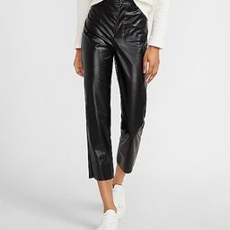 Super High Waisted Croc Embossed Vegan Leather Cropped Straight Pant   Express