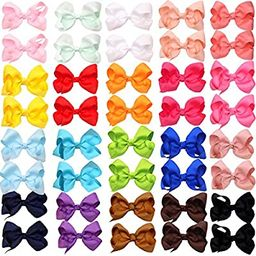 """40Pieces Boutique Grosgrain Ribbon Pinwheel 3"""" Hair Bows Alligator Clips For Babies Toddlers Teen...   Amazon (US)"""