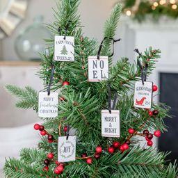 Holiday Time Mini Sign Christmas Ornament, Set of 6 | Walmart (US)