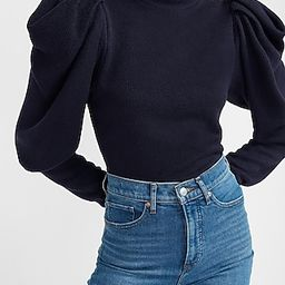 Ribbed Puff Sleeve Mock Neck Top | Express