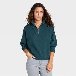 Women's Mock Turtleneck Cozy Quarter Zip Pullover Sweater - Universal Thread™ | Target