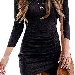 BTFBM Women Fashion Ruched Elegant Bodycon Long Sleeve Wrap Front Solid Color Casual Basic Fitted... | Amazon (US)