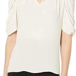 Amazon Brand - Lark & Ro Women's Georgette Half Sleeve Ruffle Neck Woven Blouse | Amazon (US)