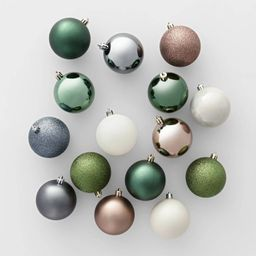 50ct Veranda Christmas 70mm Ornament Set Green Mushroom Slate Blue & White - Wondershop™ | Target