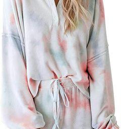 BTFBM Women Pajamas Tie Dye Print Long Sleeve Shirt Elastic Drawstring Shorts Pant PJ Set Sleepwe... | Amazon (US)