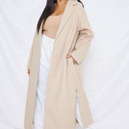 Plus Size Camel Side Split Midaxi Coat   Missguided (US & CA)