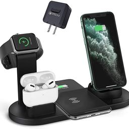 ZHOUBIN Wireless Charger Stand, 4 in 1 Charging Dock Charge with 2 Phones/AirPods/iWatch Simultan... | Amazon (US)