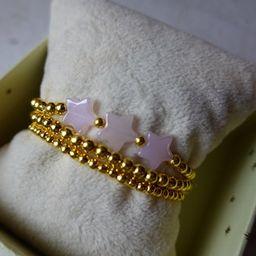 3 Pack Stars Bracelet Set  Silver or Gold  Pink Glass Stars | Etsy | Etsy (US)