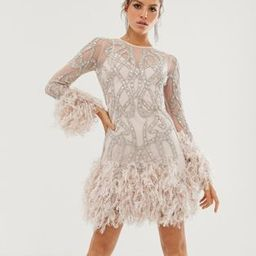 ASOS EDITION crystal embellished mini dress with faux feather hem | ASOS (Global)