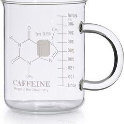 Caffeine Beaker Mug, Caffeine Molecule Mug - Chemistry Mug 16 oz Borosilicate Glass Coffee Mugs w...   Amazon (US)