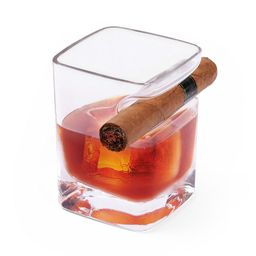 Whiskey Glass with Cigar Holder, Clear | Kohl's