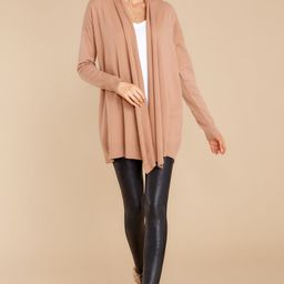 Lovely Weather Dusty Camel Cardigan   Red Dress