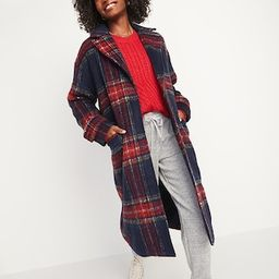Oversized Soft-Brushed Plaid Button-Front Coat for Women   Old Navy (US)