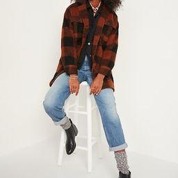 Oversized Soft-Brushed Plaid Long Shirt Jacket for Women   Old Navy (US)