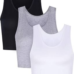 Boao 3 Pieces Women Crop Tank Top Cotton Basic Sleeveless Short Sports Crop Top for Ladies Wearin... | Amazon (US)