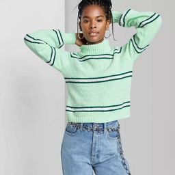 Women's Striped Turtleneck Pullover Sweater - Wild Fable™   Target