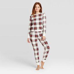 Women's Plaid Thermal Pajama Set - Stars Above White XL   Target