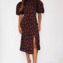 Black Floral High Neck Puff Sleeve Midi Dress   Missguided (US & CA)