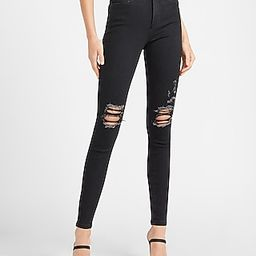 High Waisted Denim Perfect Black Ripped Skinny Jeans   Express