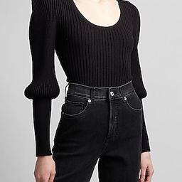 Ribbed Sharp Shoulder Blouson Sleeve Sweater   Express