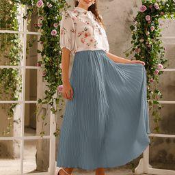 Elastic Waist Solid Pleated Skirt   SHEIN
