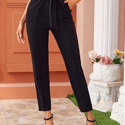 SHEIN Paperbag Waist Belted Seam Front Pants | SHEIN