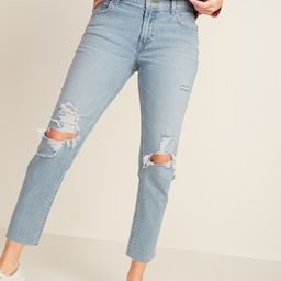 Mid-Rise Distressed Boyfriend Straight Jeans for Women   Old Navy (US)