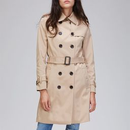 JAZZEVAR Double Button Buckle Belted Trench Coat   SHEIN