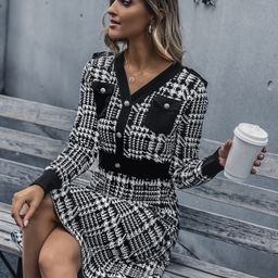 Button Detail V Neck Plaid Sweater Dress   SHEIN