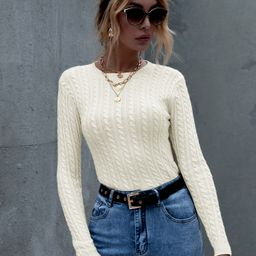Solid Cable Knit Round Neck Sweater | SHEIN