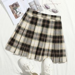 SHEIN Zip Side Plaid Pleated Skirt | SHEIN