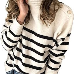 Angashion Women's Sweaters Casual Long Sleeve Crewneck Color Block Patchwork Pullover Knit Sweate...   Amazon (US)