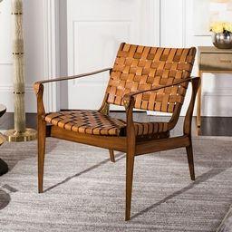"Safavieh Couture Dilan Leather Safari Chair- Light Brown / Brown - 24.5"" W x 30"" L x 30"" H - 24.5... | Overstock"